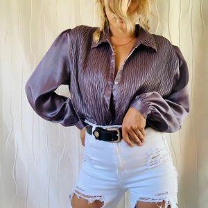 Vintage Satin Lavender Blouse